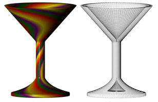 martini glass with wireframe